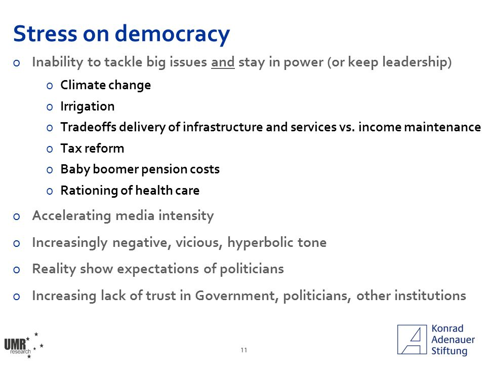 11 Stress on democracy oInability to tackle big issues and stay in power (or keep leadership) oClimate change oIrrigation oTradeoffs delivery of infrastructure and services vs.