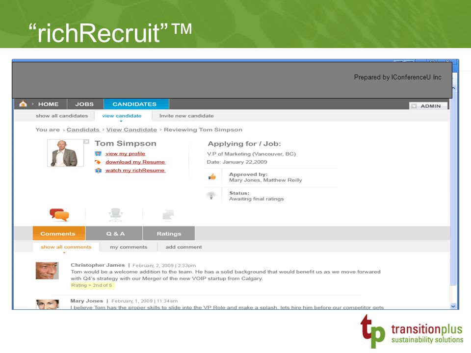 richRecruit ™ Prepared by IConferenceU Inc