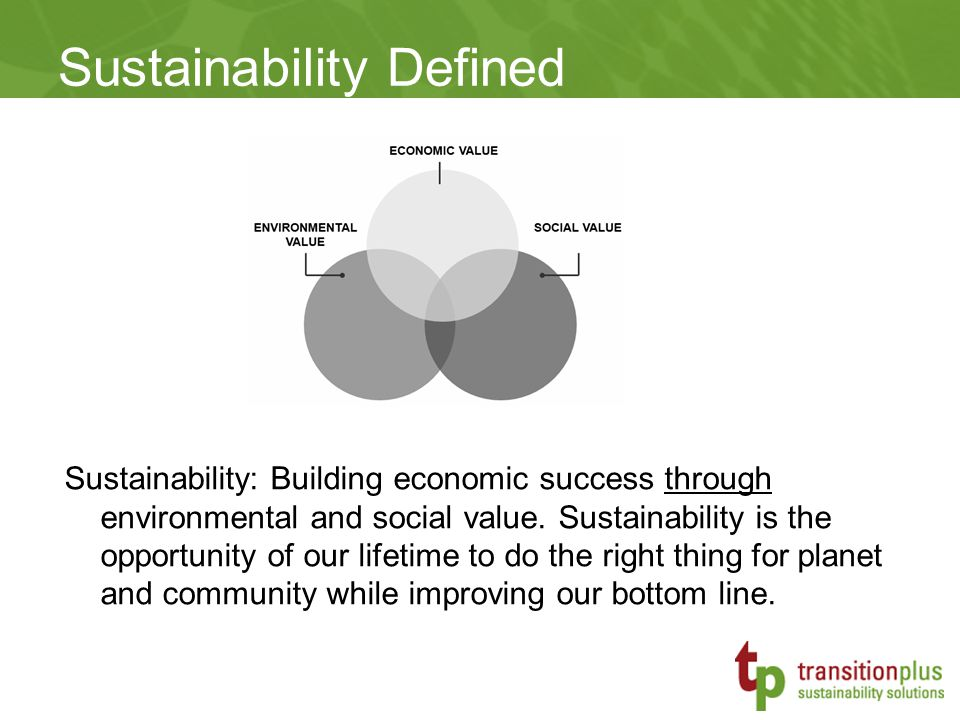 Sustainability: Building economic success through environmental and social value.