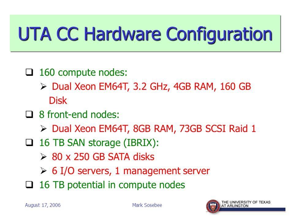 August 17, 2006Mark Sosebee UTA CC Hardware Configuration  160 compute nodes:  Dual Xeon EM64T, 3.2 GHz, 4GB RAM, 160 GB Disk  8 front-end nodes:  Dual Xeon EM64T, 8GB RAM, 73GB SCSI Raid 1  16 TB SAN storage (IBRIX):  80 x 250 GB SATA disks  6 I/O servers, 1 management server  16 TB potential in compute nodes