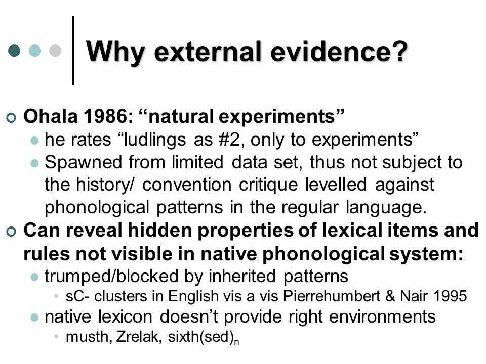 "Why external evidence? Ohala 1986: ""natural experiments"" he rates ""ludlings as #2, only to experiments"" Spawned from limited data set, thus not subjec"