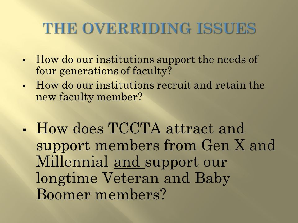  How do our institutions support the needs of four generations of faculty.