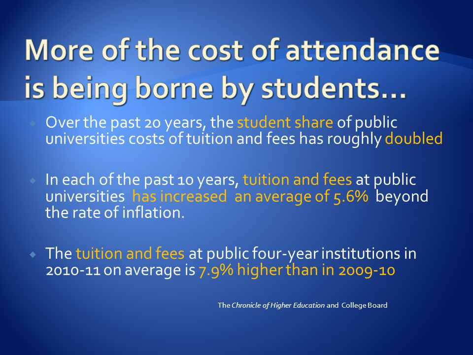  Over the past 20 years, the student share of public universities costs of tuition and fees has roughly doubled  In each of the past 10 years, tuition and fees at public universities has increased an average of 5.6% beyond the rate of inflation.