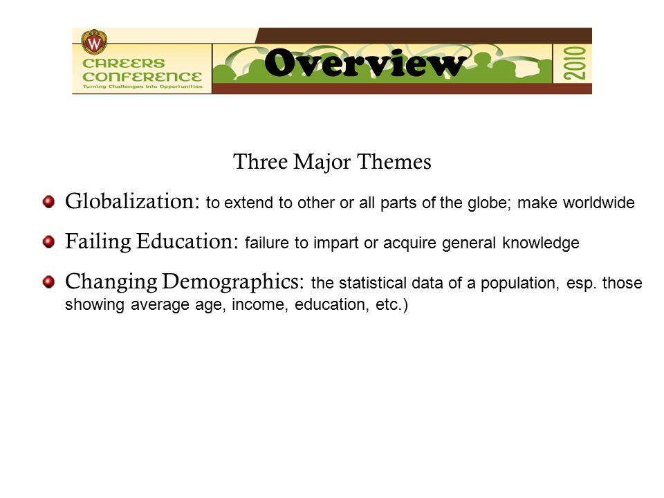 Three Major Themes Globalization: to extend to other or all parts of the globe; make worldwide Failing Education: failure to impart or acquire general knowledge Changing Demographics: the statistical data of a population, esp.