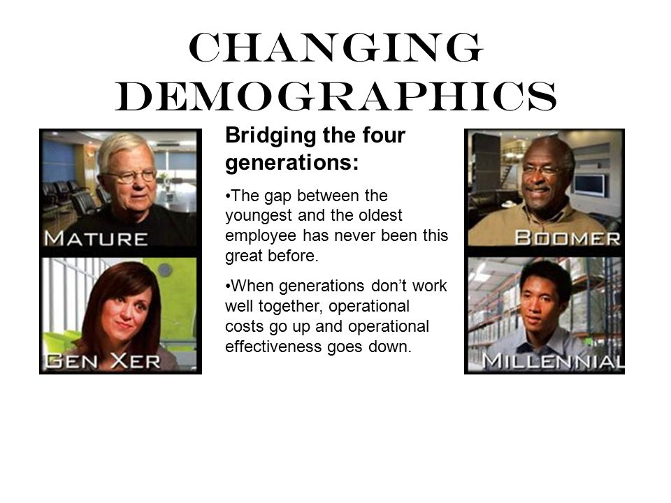 Bridging the four generations: The gap between the youngest and the oldest employee has never been this great before.