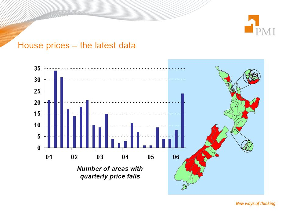 House prices – the latest data Number of areas with quarterly price falls