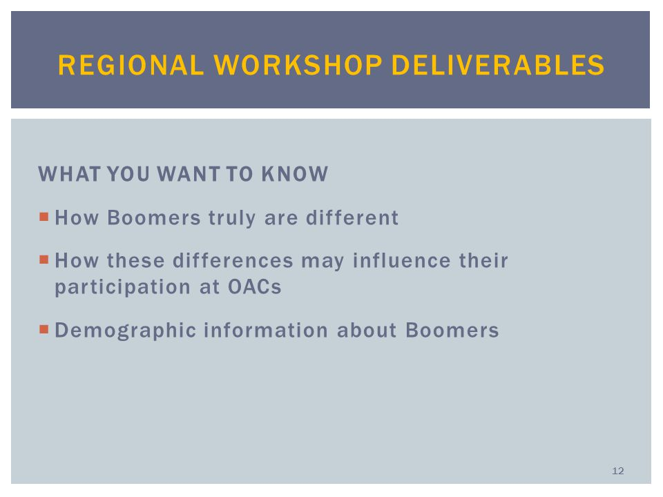 WHAT YOU WANT TO KNOW  How Boomers truly are different  How these differences may influence their participation at OACs  Demographic information about Boomers REGIONAL WORKSHOP DELIVERABLES 12