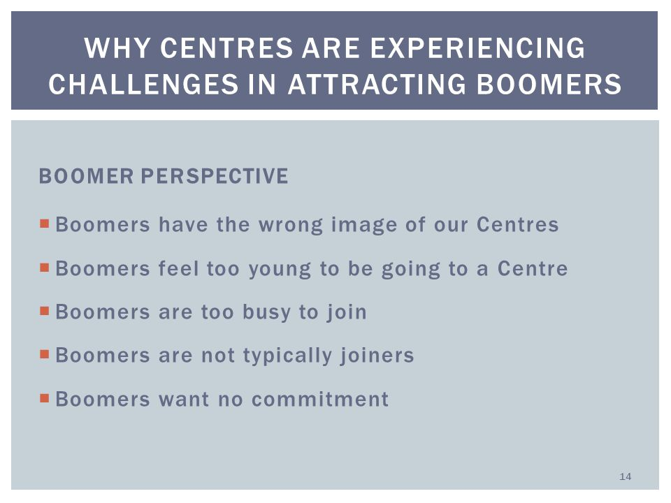 BOOMER PERSPECTIVE  Boomers have the wrong image of our Centres  Boomers feel too young to be going to a Centre  Boomers are too busy to join  Boomers are not typically joiners  Boomers want no commitment WHY CENTRES ARE EXPERIENCING CHALLENGES IN ATTRACTING BOOMERS 14