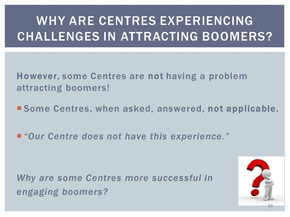 However, some Centres are not having a problem attracting boomers.