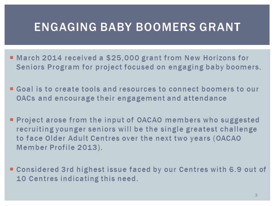  March 2014 received a $25,000 grant from New Horizons for Seniors Program for project focused on engaging baby boomers.