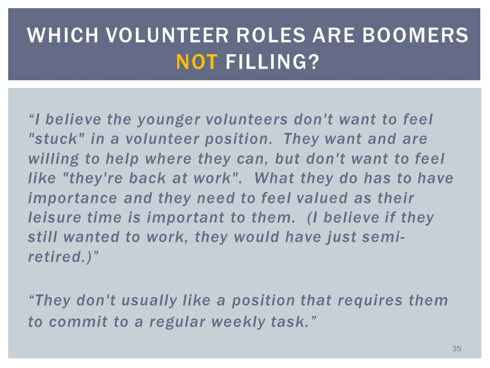 I believe the younger volunteers don t want to feel stuck in a volunteer position.