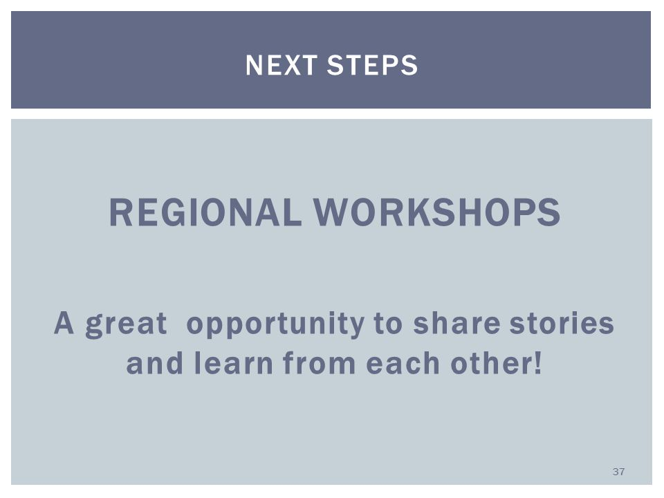 REGIONAL WORKSHOPS A great opportunity to share stories and learn from each other! NEXT STEPS 37