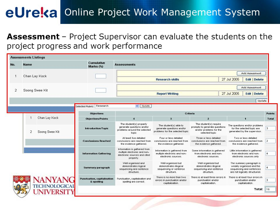 Assessment – Project Supervisor can evaluate the students on the project progress and work performance