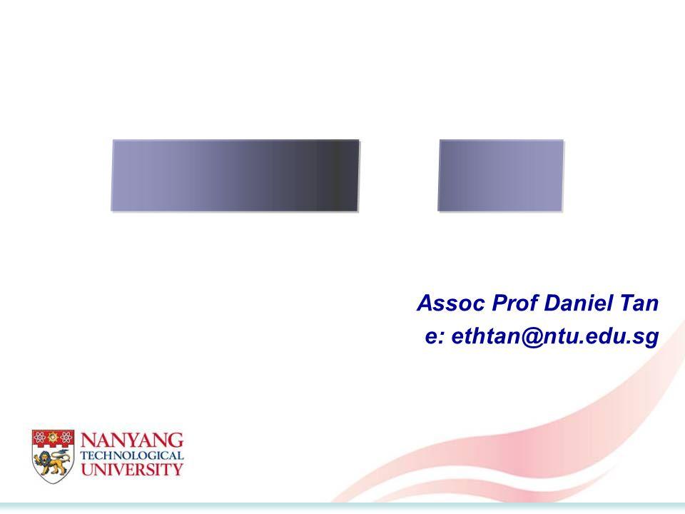 Assoc Prof Daniel Tan e: ethtan@ntu.edu.sg