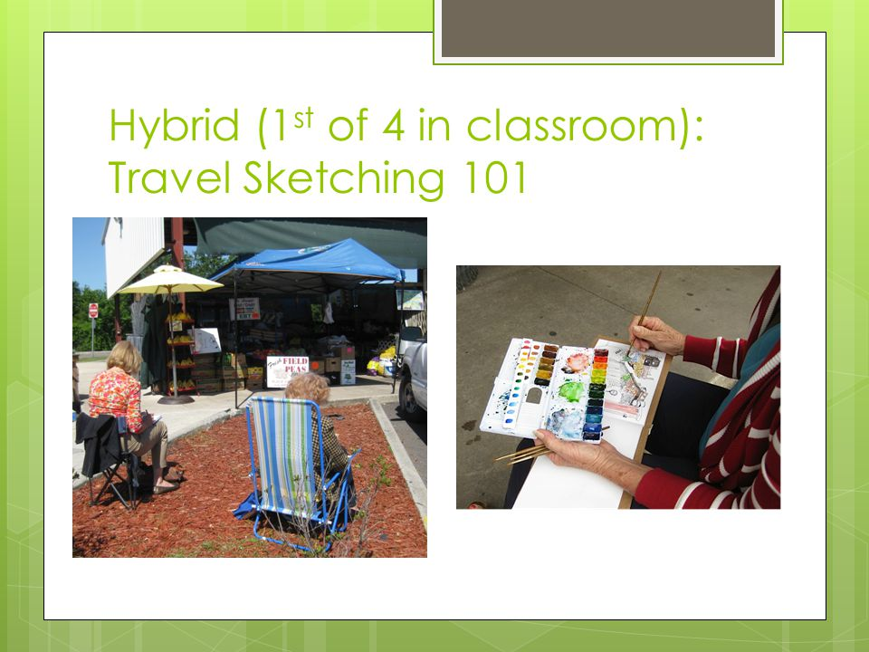 Hybrid (1 st of 4 in classroom): Travel Sketching 101