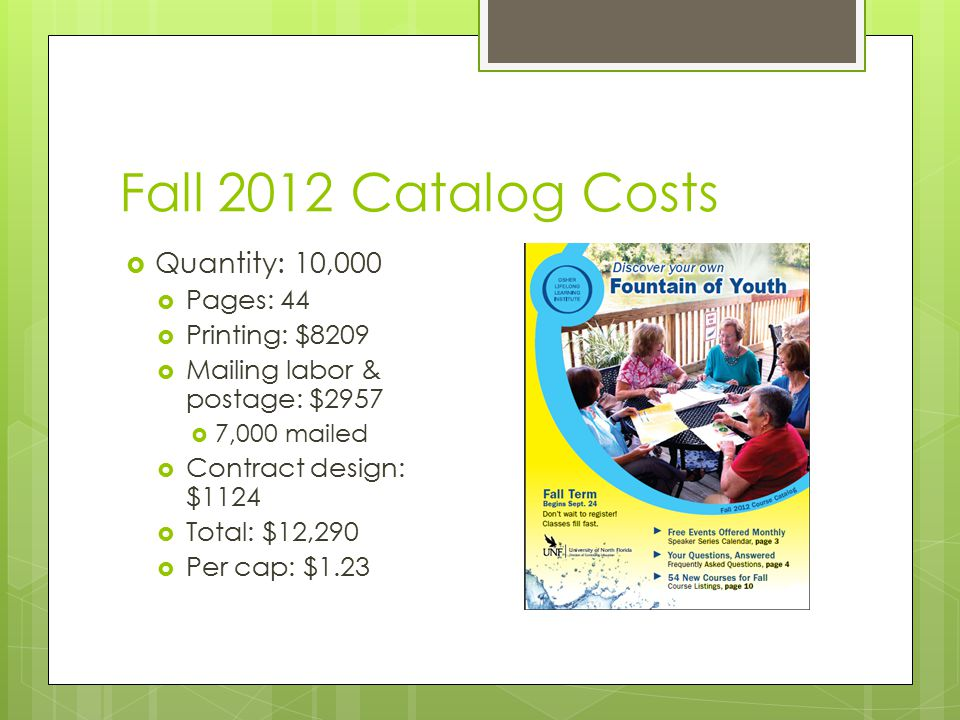 Fall 2012 Catalog Costs  Quantity: 10,000  Pages: 44  Printing: $8209  Mailing labor & postage: $2957  7,000 mailed  Contract design: $1124  Total: $12,290  Per cap: $1.23