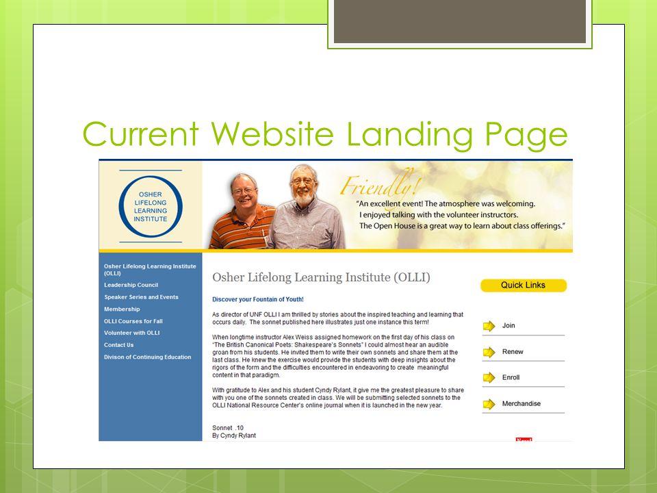 Current Website Landing Page