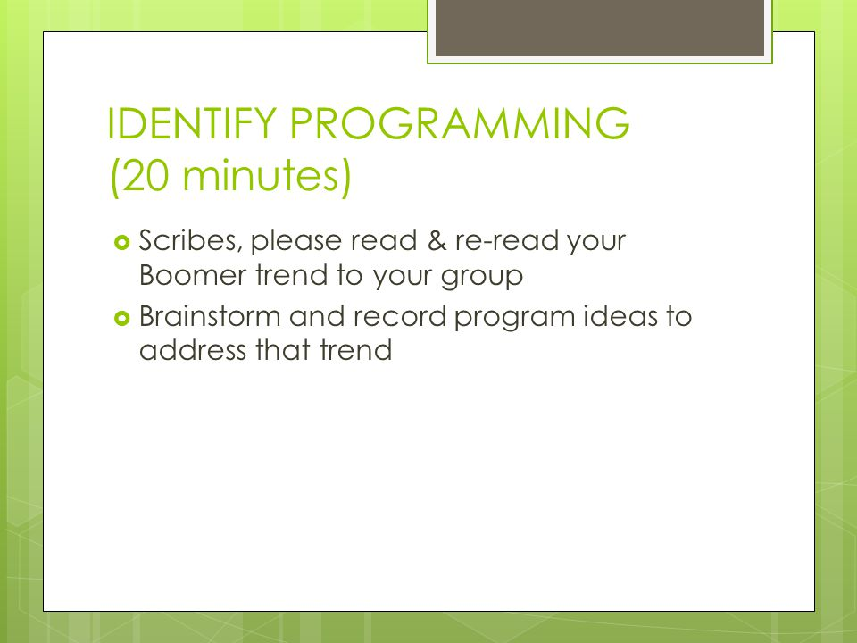 IDENTIFY PROGRAMMING (20 minutes)  Scribes, please read & re-read your Boomer trend to your group  Brainstorm and record program ideas to address that trend