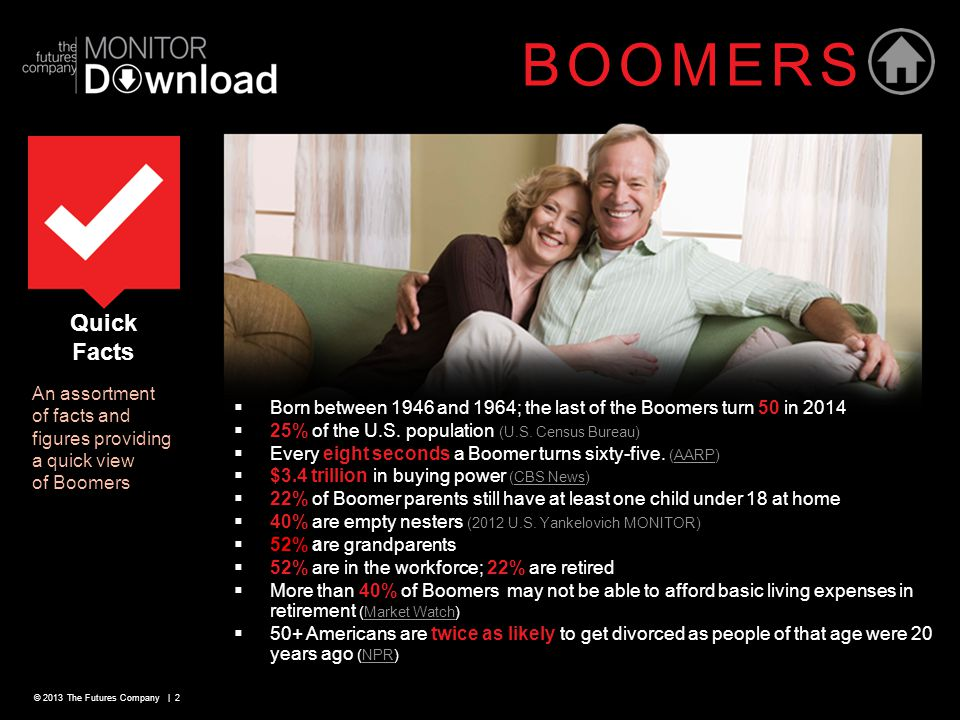 © 2013 The Futures Company | 2 Quick Facts An assortment of facts and figures providing a quick view of Boomers BOOMERS  Born between 1946 and 1964; the last of the Boomers turn 50 in 2014  25% of the U.S.