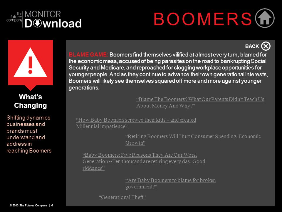 © 2013 The Futures Company | 6 What's Changing Shifting dynamics businesses and brands must understand and address in reaching Boomers BOOMERS BLAME G