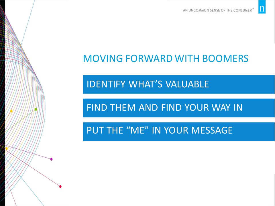 MOVING FORWARD WITH BOOMERS IDENTIFY WHAT'S VALUABLE FIND THEM AND FIND YOUR WAY IN PUT THE ME IN YOUR MESSAGE
