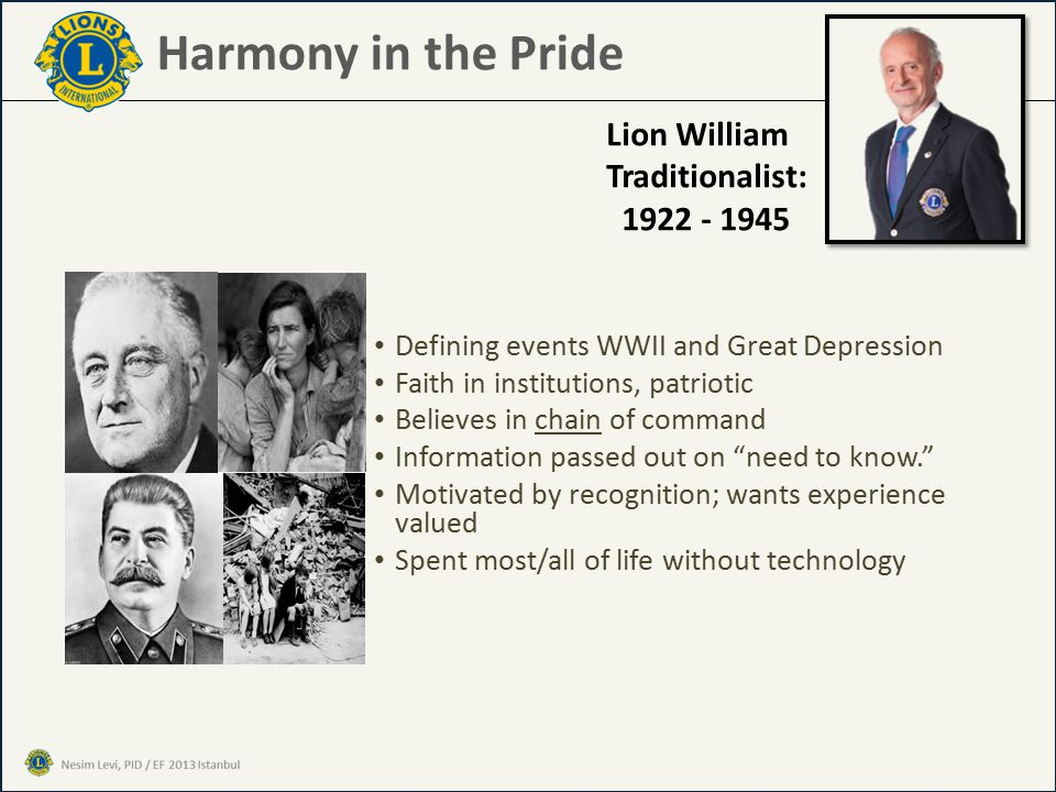 Harmony in the Pride Defining events WWII and Great Depression Faith in institutions, patriotic Believes in chain of command Information passed out on need to know. Motivated by recognition; wants experience valued Spent most/all of life without technology Lion William Traditionalist: 1922 - 1945