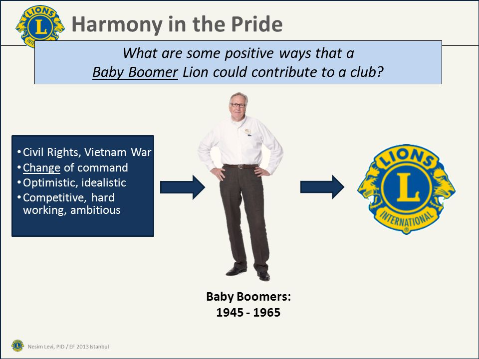 Harmony in the Pride What are some positive ways that a Baby Boomer Lion could contribute to a club.