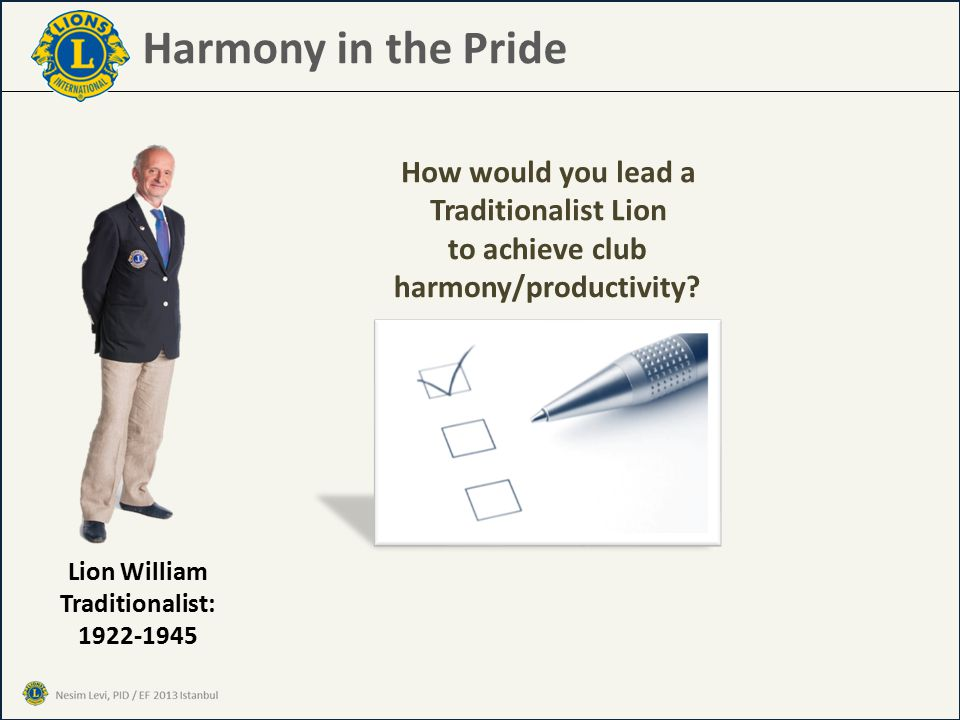 Harmony in the Pride How would you lead a Traditionalist Lion Lion William Traditionalist: 1922-1945 to achieve club harmony/productivity?