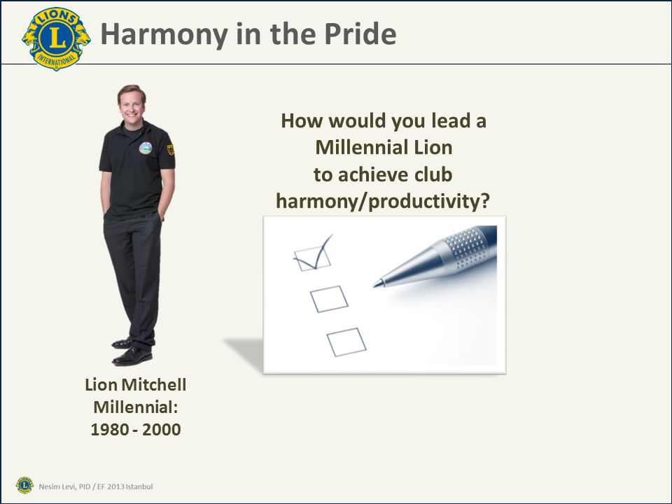 Harmony in the Pride How would you lead a Millennial Lion to achieve club harmony/productivity.