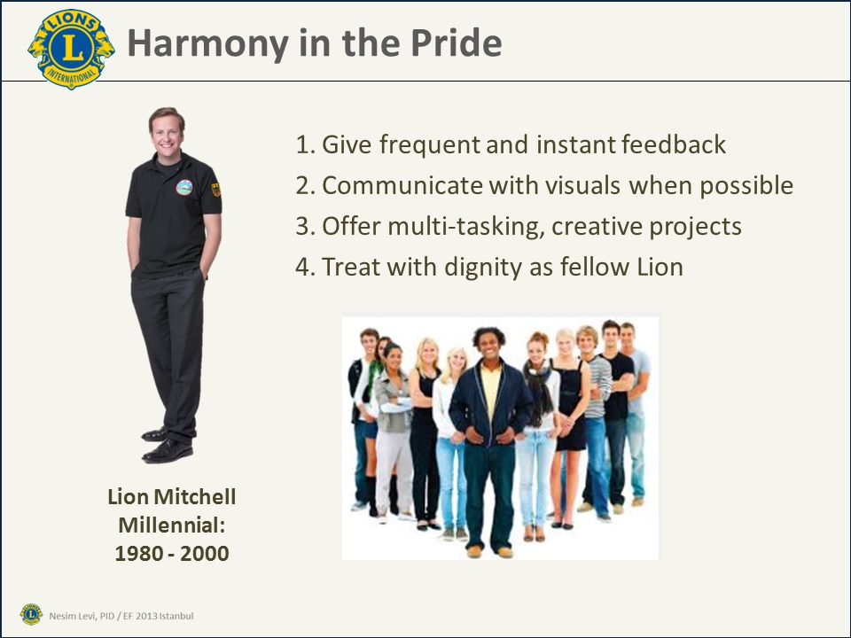 Harmony in the Pride 1.Give frequent and instant feedback 2.Communicate with visuals when possible 3.Offer multi-tasking, creative projects 4.Treat with dignity as fellow Lion Lion Mitchell Millennial: 1980 - 2000
