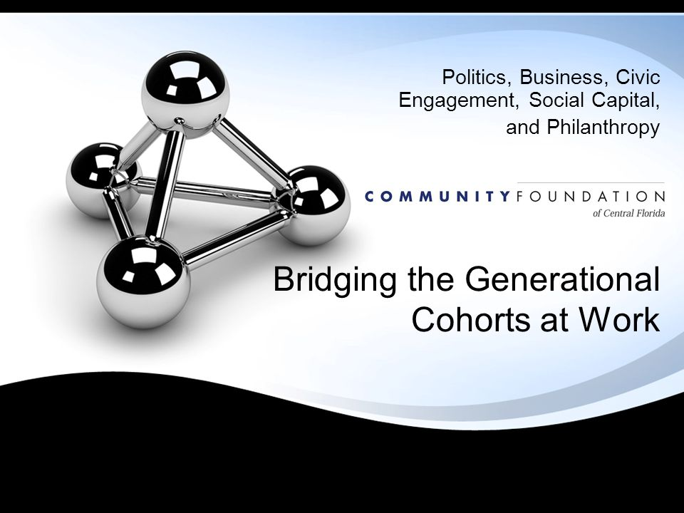 Bridging the Generational Cohorts at Work Politics, Business, Civic Engagement, Social Capital, and Philanthropy