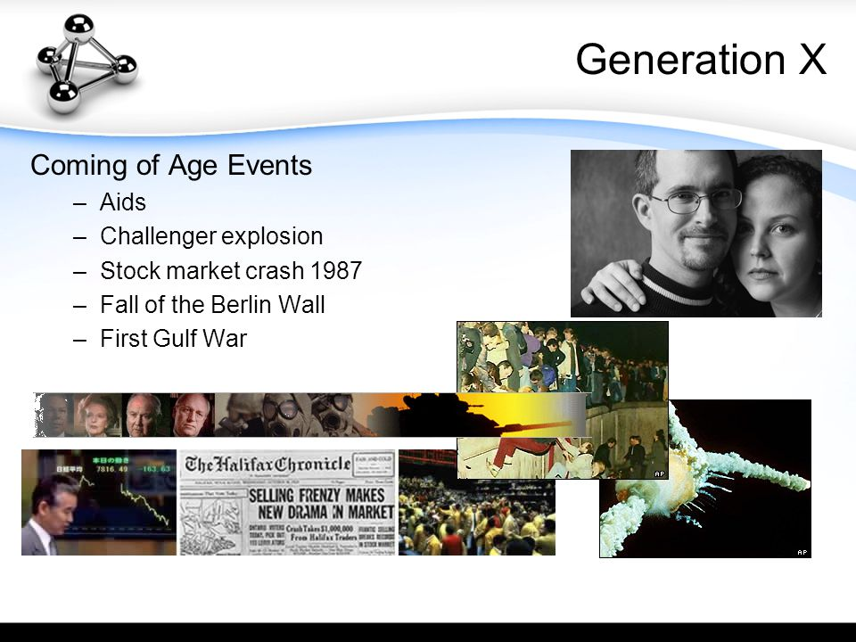 Generation X Coming of Age Events –A–Aids –C–Challenger explosion –S–Stock market crash 1987 –F–Fall of the Berlin Wall –F–First Gulf War