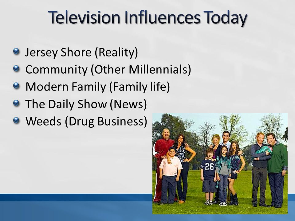 Jersey Shore (Reality) Community (Other Millennials) Modern Family (Family life) The Daily Show (News) Weeds (Drug Business)