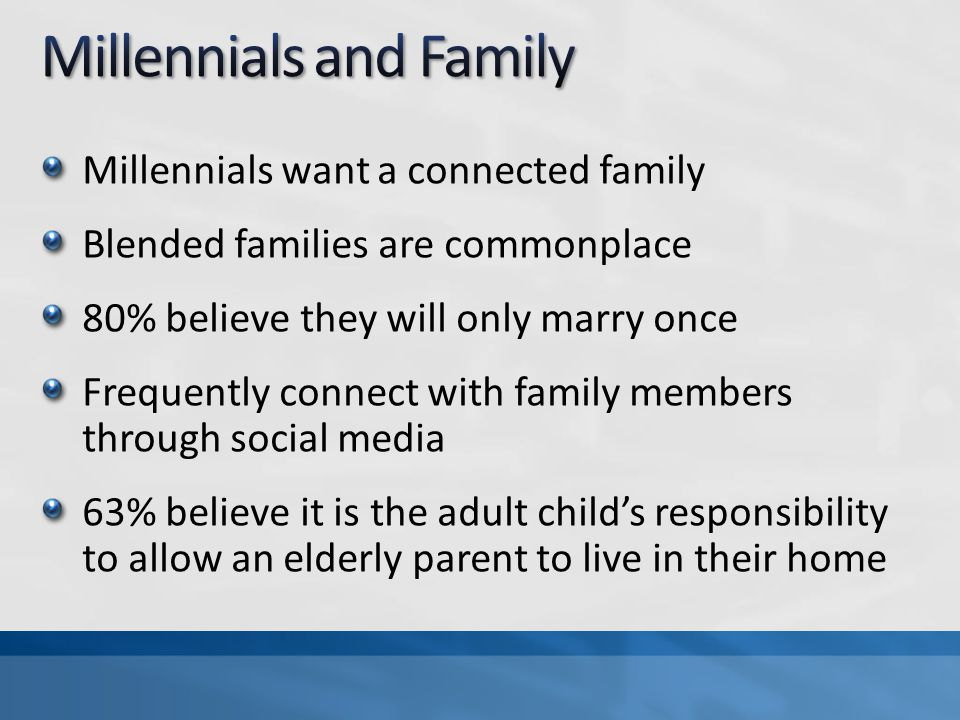 Millennials want a connected family Blended families are commonplace 80% believe they will only marry once Frequently connect with family members thro