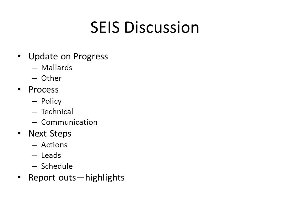SEIS Discussion Update on Progress – Mallards – Other Process – Policy – Technical – Communication Next Steps – Actions – Leads – Schedule Report outs—highlights
