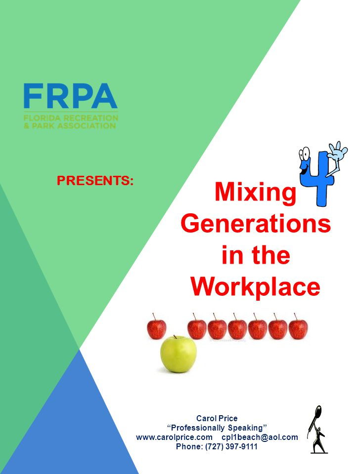 PRESENTS: Mixing Generations in the Workplace Carol Price Professionally Speaking www.carolprice.com cpl1beach@aol.com Phone: (727) 397-9111