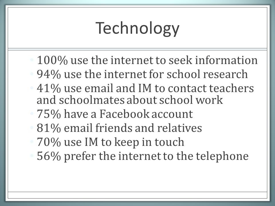Technology 100% use the internet to seek information 94% use the internet for school research 41% use email and IM to contact teachers and schoolmates