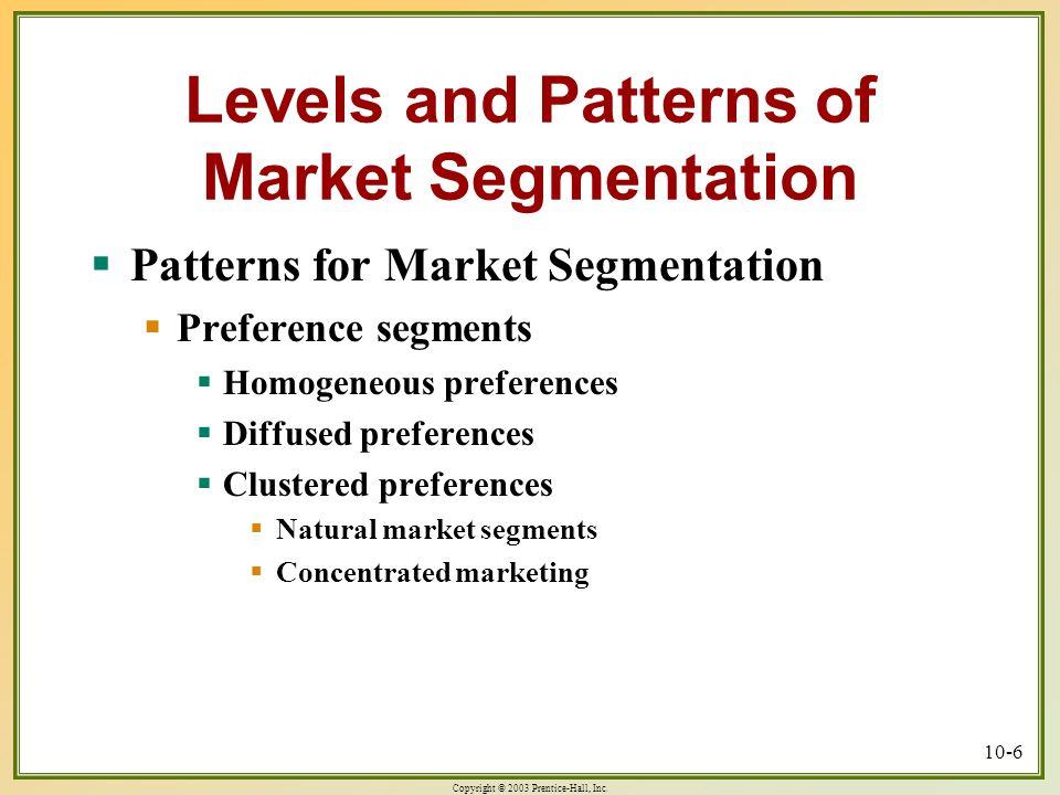 Copyright © 2003 Prentice-Hall, Inc. 10-6 Levels and Patterns of Market Segmentation  Patterns for Market Segmentation  Preference segments  Homoge