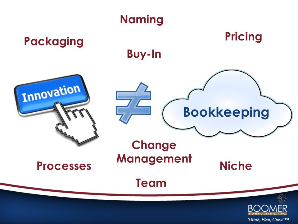 Bookkeeping Packaging Naming Pricing Processes Team Niche Change Management Buy-In