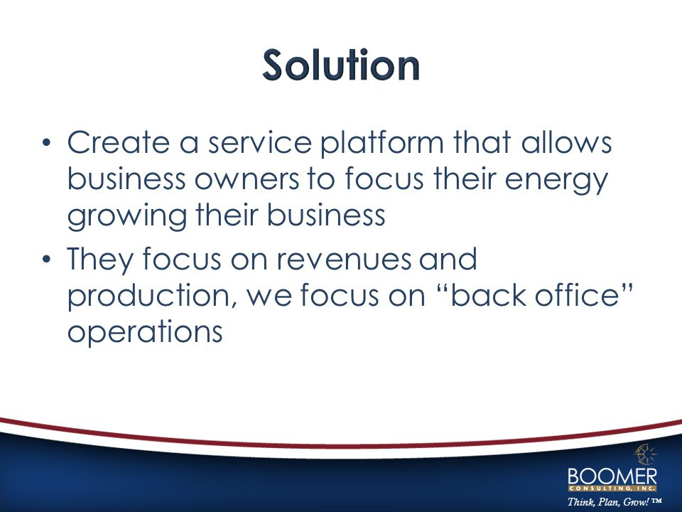 Think, Plan, Grow! ™ Create a service platform that allows business owners to focus their energy growing their business They focus on revenues and pro
