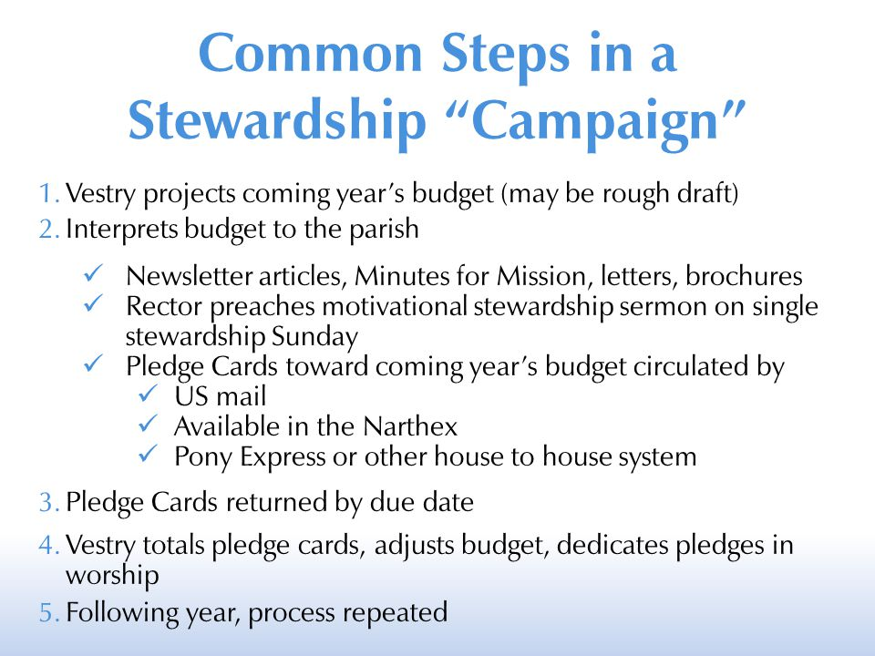 "Common Steps in a Stewardship ""Campaign"" 1.Vestry projects coming year's budget (may be rough draft) 2.Interprets budget to the parish Newsletter arti"