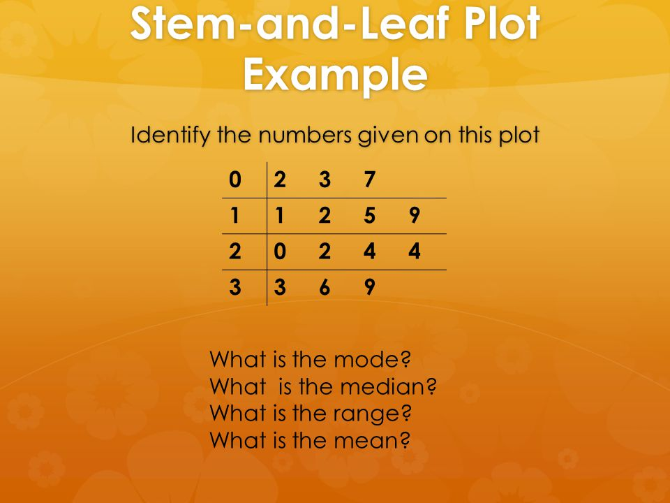 Stem-and-Leaf Plot Example Identify the numbers given on this plot 0237 11259 20244 3369 What is the mode.