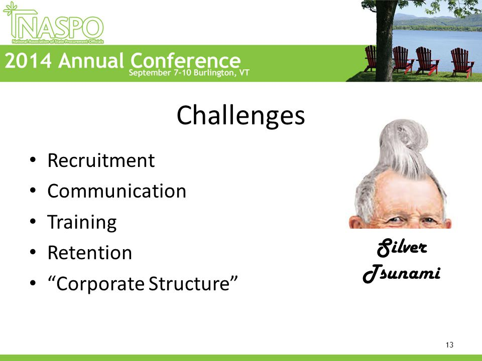 Challenges Recruitment Communication Training Retention Corporate Structure 13 Silver Tsunami