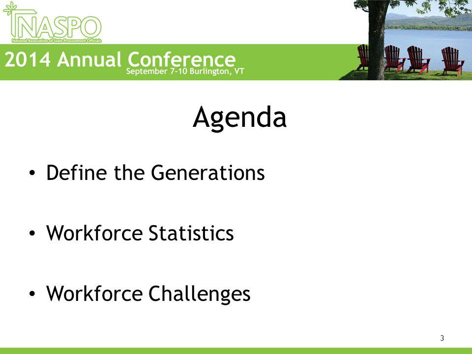 Agenda Define the Generations Workforce Statistics Workforce Challenges 3