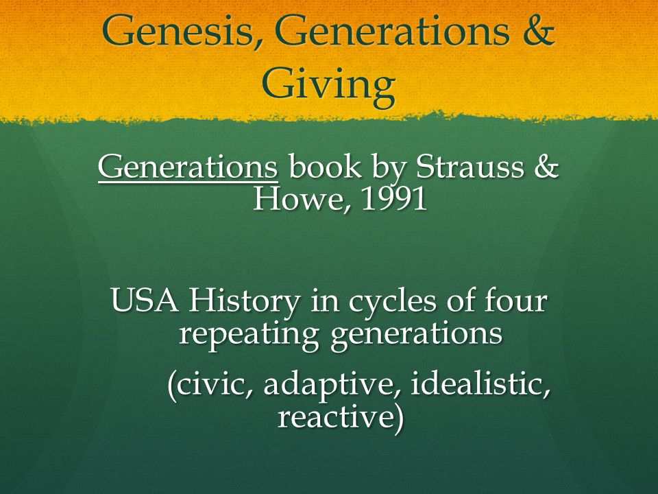 Genesis, Generations & Giving Generations book by Strauss & Howe, 1991 USA History in cycles of four repeating generations (civic, adaptive, idealistic, reactive) (civic, adaptive, idealistic, reactive)