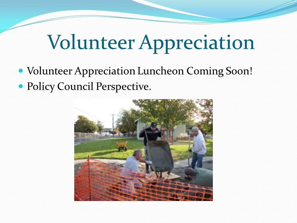 Volunteer Appreciation Luncheon Coming Soon! Policy Council Perspective. Volunteer Appreciation
