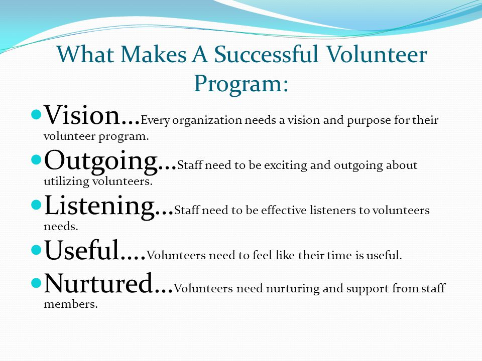 What Makes A Successful Volunteer Program: Vision… Every organization needs a vision and purpose for their volunteer program. Outgoing… Staff need to