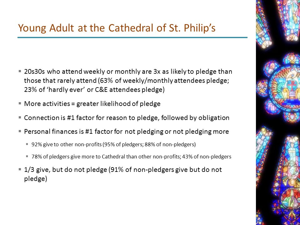  20s30s who attend weekly or monthly are 3x as likely to pledge than those that rarely attend (63% of weekly/monthly attendees pledge; 23% of 'hardly ever' or C&E attendees pledge)  More activities = greater likelihood of pledge  Connection is #1 factor for reason to pledge, followed by obligation  Personal finances is #1 factor for not pledging or not pledging more  92% give to other non-profits (95% of pledgers; 88% of non-pledgers)  78% of pledgers give more to Cathedral than other non-profits; 43% of non-pledgers  1/3 give, but do not pledge (91% of non-pledgers give but do not pledge) Young Adult at the Cathedral of St.