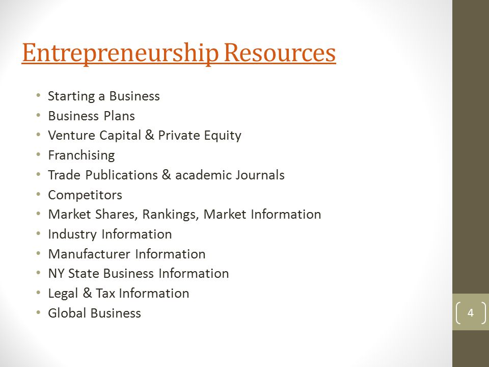 Entrepreneurship Resources Starting a Business Business Plans Venture Capital & Private Equity Franchising Trade Publications & academic Journals Comp
