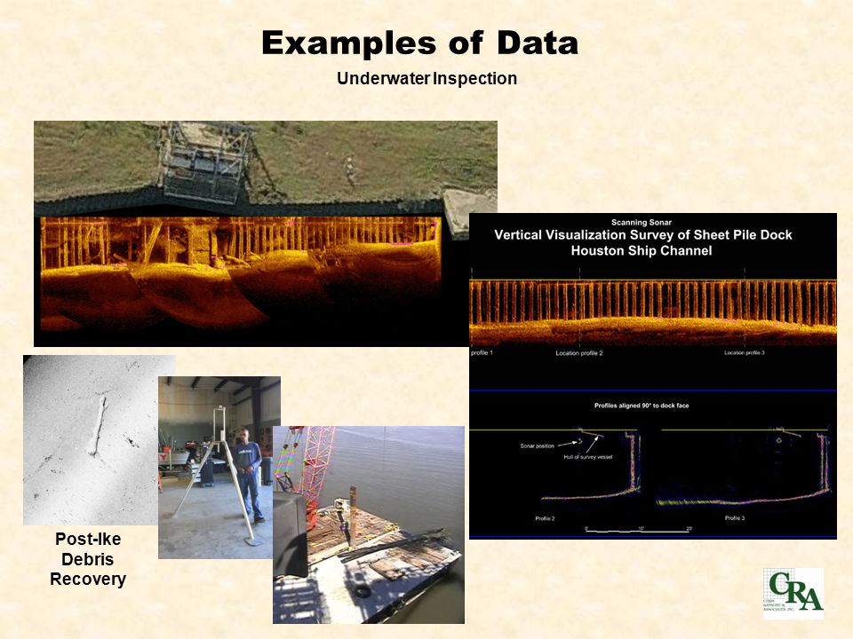 Examples of Data Underwater Inspection Post-Ike Debris Recovery